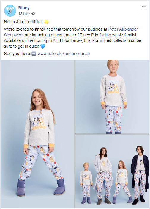 Bluey / Peter Alexander pyjamas announcement