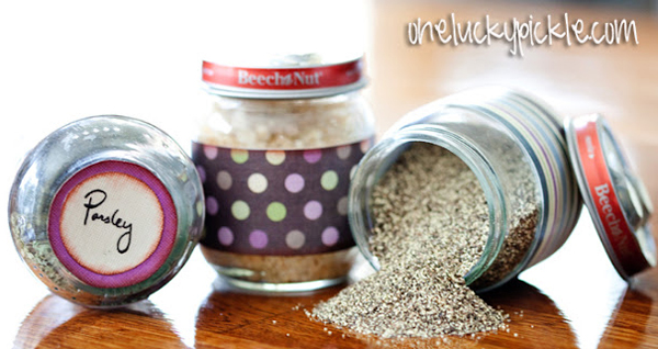 Magnetic spice rack made from baby food jars