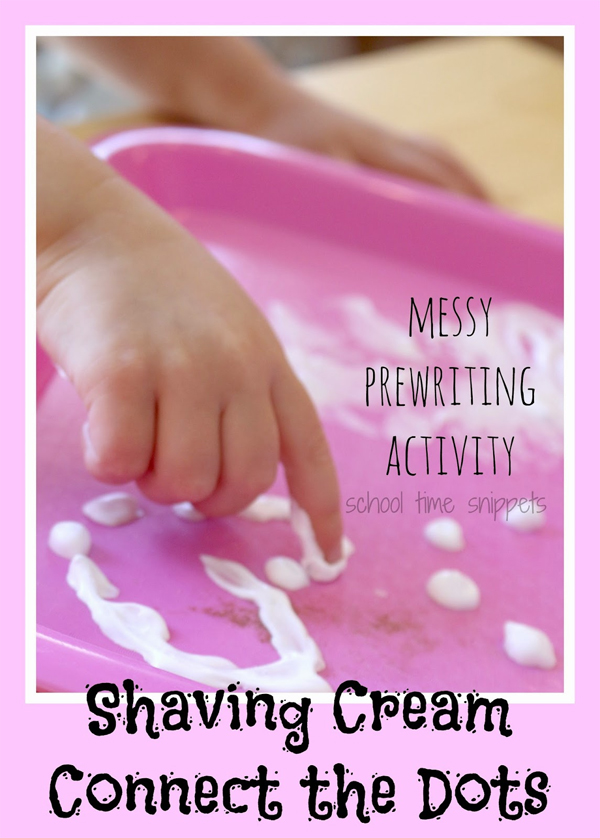 Shaving foam activities for kids - connect the dots