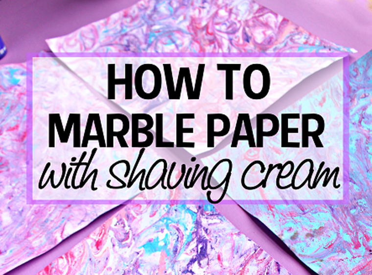 Shaving foam activities for kids - marbled paper art