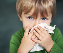 Toddler boy blue eyes blowing nose with tissue - feature
