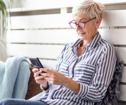 Older woman using smartphone