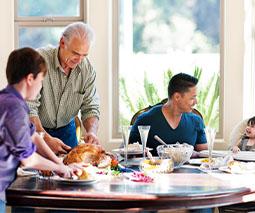 Blended family at the dinner table