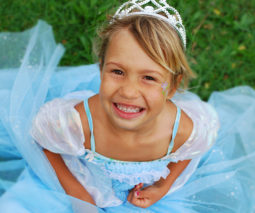 Blonde girl dressed up as princess - feature