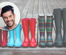 Family gumboots lined up in a row - with Sam Wood inset
