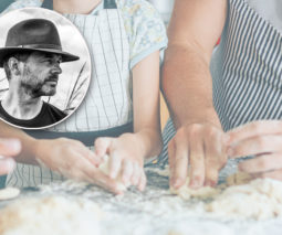 Family rolling dough together - Jock Zonfrillo inset