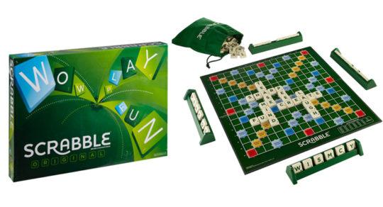 Scrabble board game box and accessories