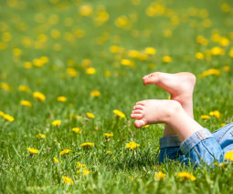 Child bare feet in grass - feature