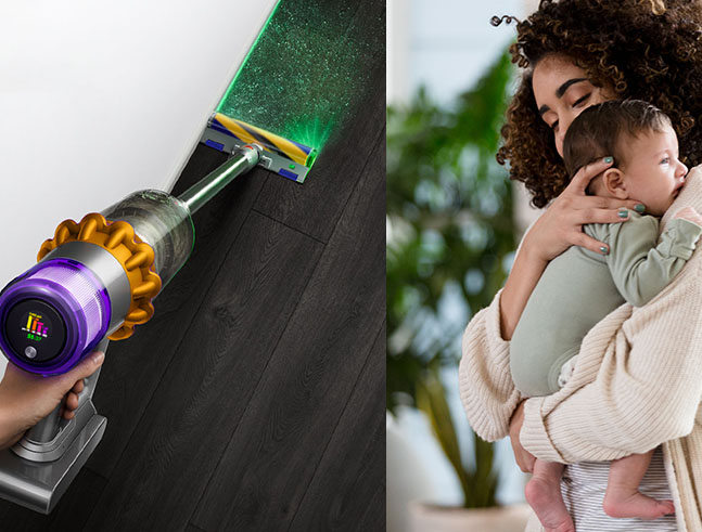 dyson vacuum with mother and baby